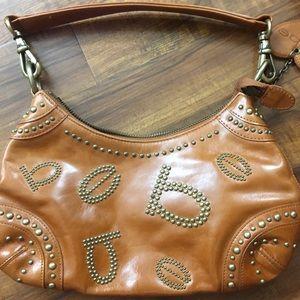 Cognac Leather Studded Bebe Handbag